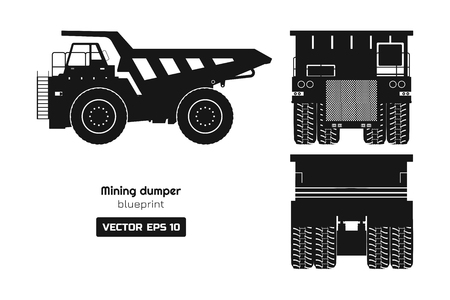 Silhouette of mining dumper on white background. Back, side and front view. Heavy truck image. Industrial 3d drawing of cargo car. Diesel  automobile blueprint