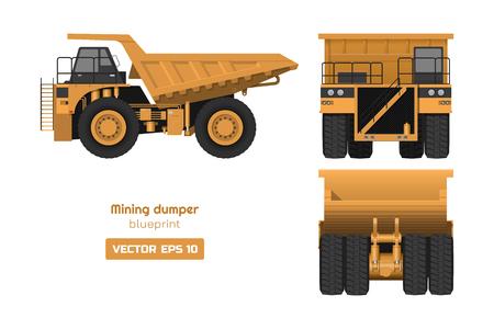 Tombereau minier sur fond blanc. Vue de dos, de côté et de face. Image de camion lourd. Dessin 3d industriel d'une voiture cargo. Plan d'automobile diesel Vecteurs