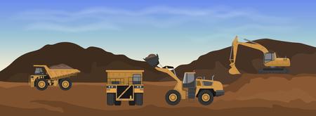 Machines de carrière. Chargeuse sur pneus, excavatrice et dumper dans la mine. Paysage industriel. Panorama du travail de la terre. Illustration vectorielle