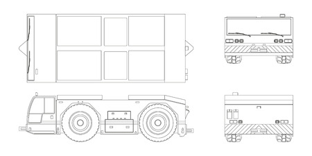 Airplane towing vehicle in outline style. Front, side, top and back view. Repair and maintenance of aircraft. Airfield transport. Industrial blueprint. Vector isolated illustration.