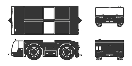 Black silhouette of airplane towing vehicle. Front, side, top and back view. Repair and maintenance of aircraft. Airfield transport. Industrial blueprint. Vector isolated illustration. Vecteurs