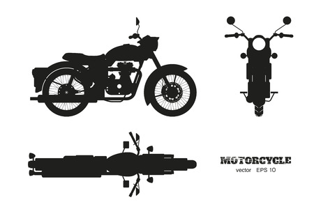 Black silhouette of retro classic motorcycle. Side, top and front view. Drawing of vintage motorbike on white background. Vector isolated illustration