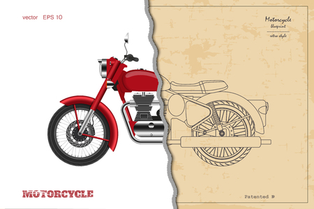 Blueprint of retro classic motorcycle in outline style. Side view. Industrial drawing of vintage motorbike. Vector illustration Vectores