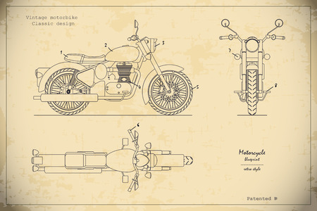 Blueprint of retro classic motorcycle in outline style. Side, top and front view. Industrial drawing of vintage motorbike. Vector illustration