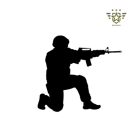 Black silhouette of sitting american soldier. USA army. Military man with weapon. Isolated warrior image. Vector illustration