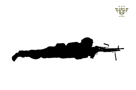 Black silhouette of lying american soldier with machine gun. USA army. Military man with weapon. Isolated warrior image. Vector illustration