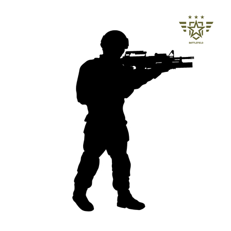 Black silhouette of standing american soldier. USA army. Military man with weapon. Isolated warrior image. Vector illustration