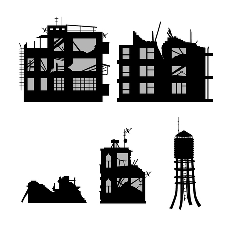 Black silhouette of broken city on white background. Industrial landscape. War conflict. Ruins of houses after earthquake. Old building scene. Vector illustration