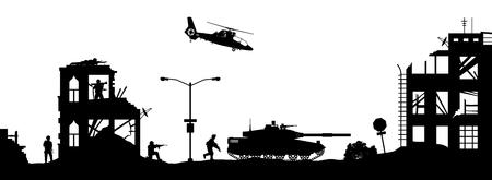 Silhouettes militaires noires sur fond blanc. Des soldats attaquent une maison avec des terroristes. Scène de combat dans la ville brisée. Panorama de la guerre