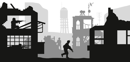 Black military silhouettes on white background. Soldiers assault house with terrorists. Scene of combat in broken city. War panorama. Vector illustration Vettoriali