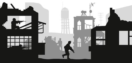Silhouettes militaires noires sur fond blanc. Des soldats attaquent une maison avec des terroristes. Scène de combat dans la ville brisée. Panorama de la guerre. Illustration vectorielle Vecteurs