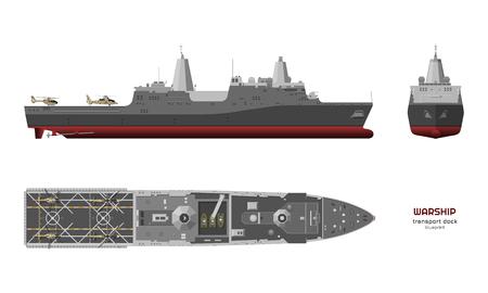 Image détaillée du navire militaire. Vue de dessus, de face et de côté. Modèle 3D de cuirassé. Dessin industriel isolé du bateau USS. Navire de guerre dans un style réaliste. Illustration vectorielle