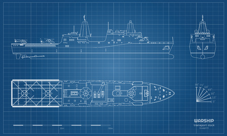 Outline blueprint of military ship. Top, front and side view. Battleship model. Industrial isolated drawing of boat. Warship USS