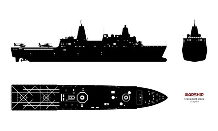 Black silhouette of military ship. Top, front and side view. Battleship model. Industrial isolated drawing of boat. Warship USS