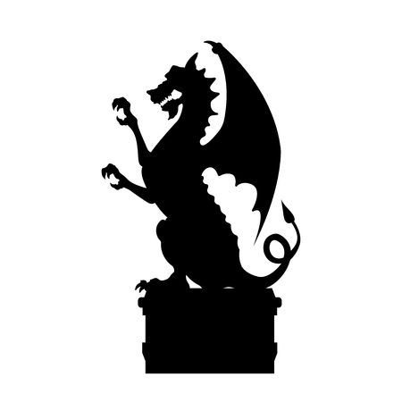 Black silhouette of gothic statue of dragon. Medieval architecture. Side view of stone cathedral sculpture. Isolated image on white background. Vector illustration
