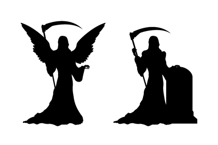 Black silhouette of death with scythe. Statue of dark angel on gothic cemetery.  Halloween symbol. Isolated image of  hell reaper.  Tombstone of  catholic graveyard. Vector illustration