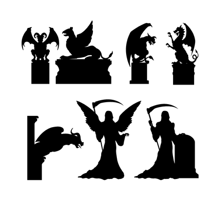 Black silhouettes of gothic statues. Medieval architecture. Stone cathedral sculpture. Cemetery memorial. Halloween symbol. Tombstone of catholic graveyard. Vector illustration