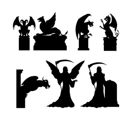 Silhouettes noires de statues gothiques. Architecture médiévale. Sculpture cathédrale en pierre. Mémorial du cimetière. Symbole d'Halloween. Pierre tombale du cimetière catholique. Illustration vectorielle Vecteurs