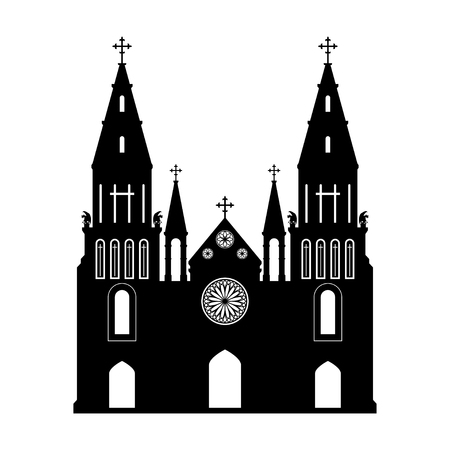Black silhouette of gothic church. Isolated drawing of cathedral build. Fantasy architecture. European medieval landmark. Design element