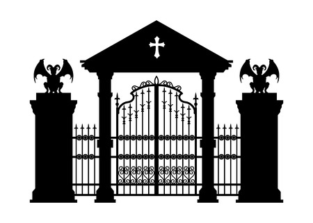 Black silhouette of gothic cemetery gate. Isolated drawing of cathedral build. Fantasy architecture. European medieval landmark. Design element