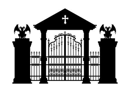 Silhouette noire de la porte du cimetière gothique. Dessin isolé de la construction de la cathédrale. Architecture fantastique. Monument médiéval européen. Élément de conception