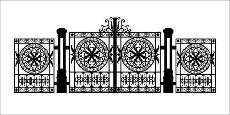 Black silhouette of gothic cemetery gate with ornament. Isolated drawing of cathedral build. Fantasy architecture. European medieval landmark. Design element. Vector Illustration
