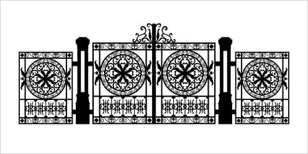 Schwarze Silhouette des gotischen Friedhofstors mit Ornament. Isolierte Zeichnung des Dombaus. Fantasiearchitektur. Europäisches mittelalterliches Wahrzeichen. Gestaltungselement. Vektorgrafik