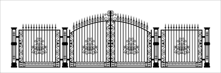 Black silhouette of gothic cemetery gate with ornament. Isolated drawing of cathedral build. Fantasy architecture. European medieval landmark. Design element Vector Illustration