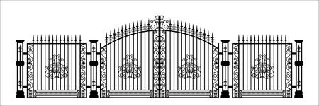 Siluetta nera del cancello del cimitero gotico con l'ornamento. Disegno isolato della configurazione della cattedrale. Architettura di fantasia. Punto di riferimento medievale europeo. Elemento di design Vettoriali