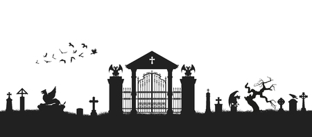 Black silhouette of gothic cemetery. Medieval architecture. Graveyard with gate, crypt and tombstones. Halloween scene Vektoros illusztráció