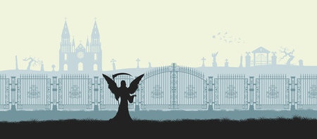 Black silhouette of gothic cemetery. Reaper with scythe as symbol of death. Medieval architecture. Graveyard with gate, church and tombstones. Halloween scene