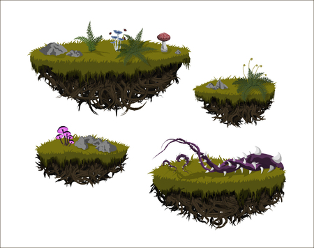 Fantastic flying islands. Isolated image of fantasy landscape. Magic rocks in sky. Fictional pieces of ground in cartoon style. Game asset. GUI element. Fairy world. Vector illustration Ilustrace