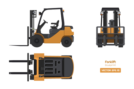 Forklift in realistic style. Top, side and front view. Hydraulic machinery 3d image. Industrial isolated drawing of orange loader. Diesel vehicle blueprint. Vector illustration