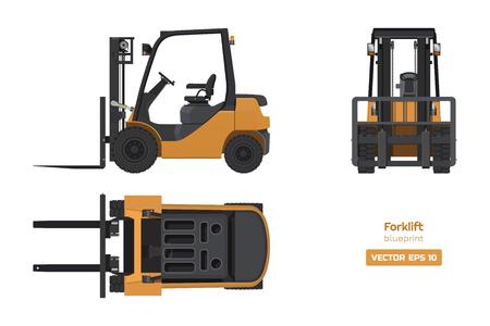 Gabelstapler im realistischen Stil. Ansicht von oben, von der Seite und von vorne. 3D-Bild der hydraulischen Maschinen. Industrielle isolierte Zeichnung des orangefarbenen Laders. Bauplan für Dieselfahrzeuge. Vektor-Illustration Vektorgrafik