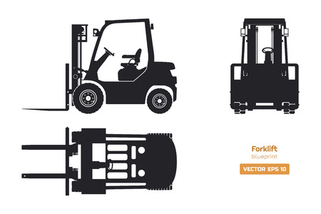 Schwarze Silhouette des Gabelstaplers. Ansicht von oben, von der Seite und von vorne. Blaupause für hydraulische Maschinen. Industrieller isolierter Lader. Dieselfahrzeug-Zeichnung. Vektor-Illustration