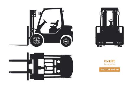 Silhouette noire du chariot élévateur. Vue de dessus, de côté et de face. Plan de machines hydrauliques. Chargeur isolé industriel. Dessin de véhicule diesel. Illustration vectorielle