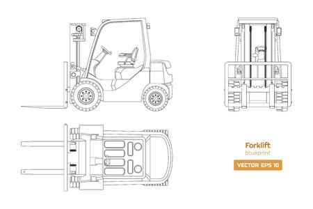 Zarys plan wózka widłowego. Widok z góry, z boku i z przodu. Obraz maszyn hydraulicznych. Ładowarka przemysłowa na białym tle. Rysunek pojazdu z silnikiem Diesla. Ilustracja wektorowa