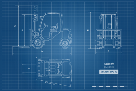 Outline blueprint of forklift. Top, side and front view. Hydraulic machinery image. Industrial document with loader. Diesel vehicle drawing. Vector illustration