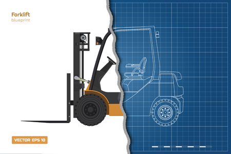 Outline blueprint of forklift. Top, side and front view. Hydraulic machinery 3d image. Industrial document with loader. Diesel vehicle drawing. Vector illustration Ilustrace