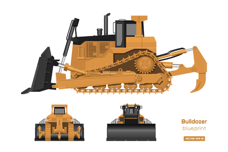 Bulldozer in realistic style. Front, side and back view of digger. Building machinery 3d image. Industrial isolated drawing of orange dozer. Diesel vehicle blueprint. Vector illustration