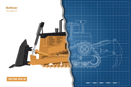 Bulldozer in outline style. Front, side and back view of digger. Building machinery image. Ilustrace