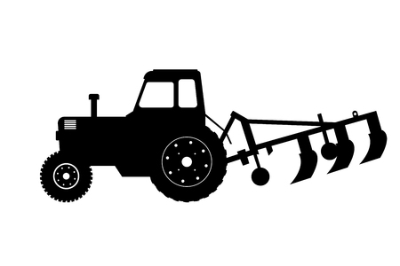 Black silhouette of tractor with plow. Farm machine. Side view. Isolated industrial drawing. Illustration