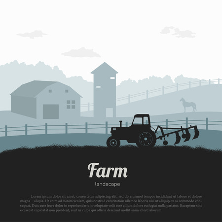 Silhouettes of farm landscape. Rural panorama of runch with tractor. Village scenery for poster. Farmer house and horse. Vector illustration