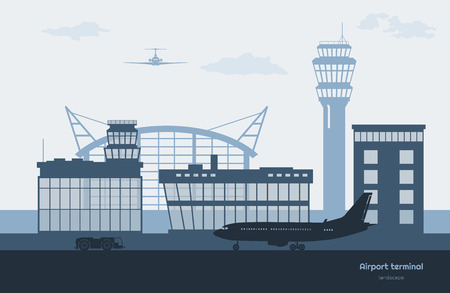 Landscape of airport. Transportation terminal silhouette. Airplane on aerodrome background. Aviation scene. Vector illustration