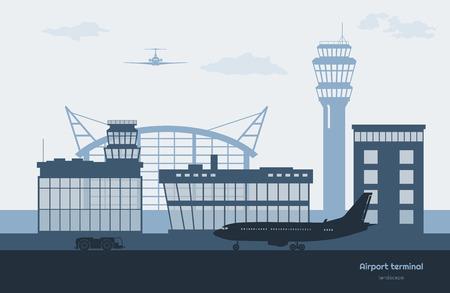 Paisaje del aeropuerto. Silueta de la terminal de transporte. Avión en el fondo del aeródromo. Escena de la aviación. Ilustración vectorial