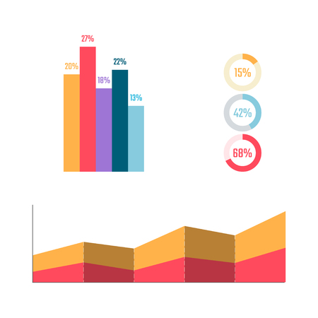 Infographic elements. Bisness graph and diagram. Percent table. Marketing plan in flat style. Vector illustration