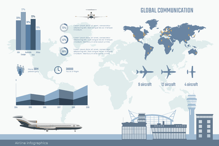 Airline infographics. Graphs and diagram of transportation business. Global map with aircrafts. Aviation brochure with planes and information