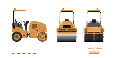 Rouleau vibrant dans un style réaliste. Vue de côté, de dos et de face. Image 3d de machines de construction. Dessin industriel isolé du compacteur d'asphalte orange. Plan de véhicule diesel. Illustration vectorielle