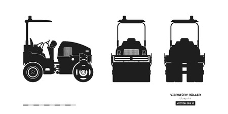 Black silhouette of vibratory roller. Side, back and front view. Building machinery image. Industrial isolated drawing of asphalt compactor. Diesel vehicle blueprint. Vector illustration