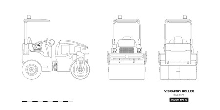 Vibratory roller in outline style. Side, back and front view. Building machinery image. Industrial isolated drawing of asphalt compactor. Diesel vehicle blueprint. Vector illustration Ilustrace